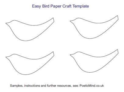 Free PDF bird paper craft template.