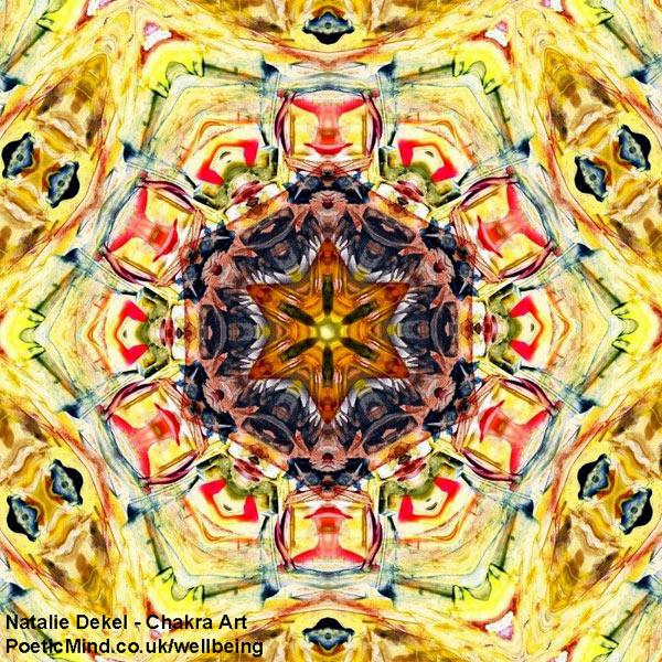 Chakra Art (#44) - by Natalie Dekel. Encaustic Wax technique.