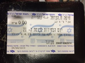 Free public transportation on the Election Day, April 2019. Haifa, Israel. (Photo: Gil Dekel, 2019).