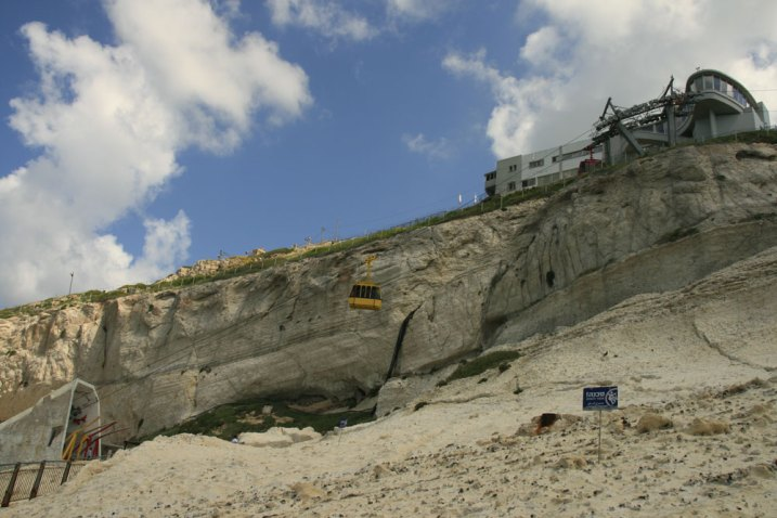 Rosh HaNikra. The cable car. Caves and tunnels formed by the sea in the soft chalk rock. Israel. (Photo: Gil Dekel, 2019).