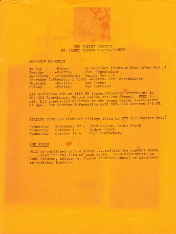 Poetry Project flyer, 1967. Courtesy Larry Fagin