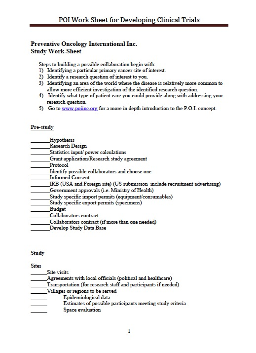 Poi Clinical Trial Worksheet