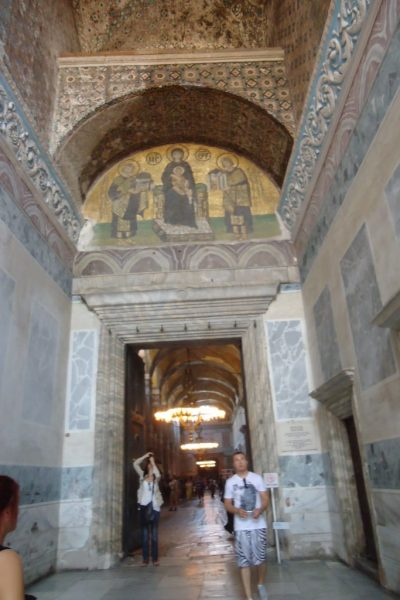 Hagia Sophia Southwestern Entrance Mosaic of Jesus, Mary, Justinian I, and Constantine I