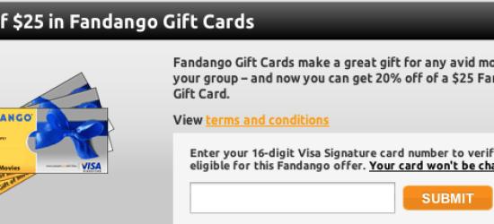 Visa Signature 25% off Fandango Giftcard
