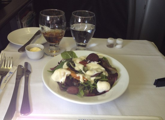 United Airlines Global First 747 Onboard Meal Salad