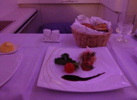 Thai Airways First Class Meal A380 duck liver mousse, lobster tail, mesclun and balsamic sauce