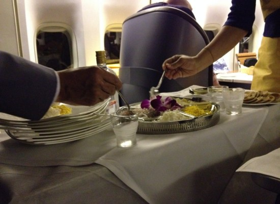 Caviar Cart onboard Thai Airways First Class 747 Bangkok to Sydney