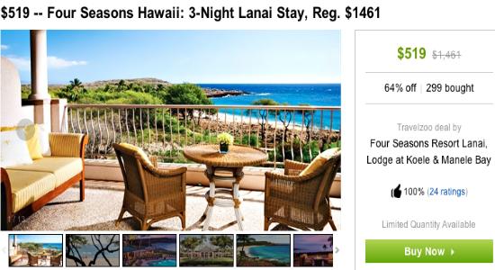 Four Seasons Lanai Travelzoo $173 per night