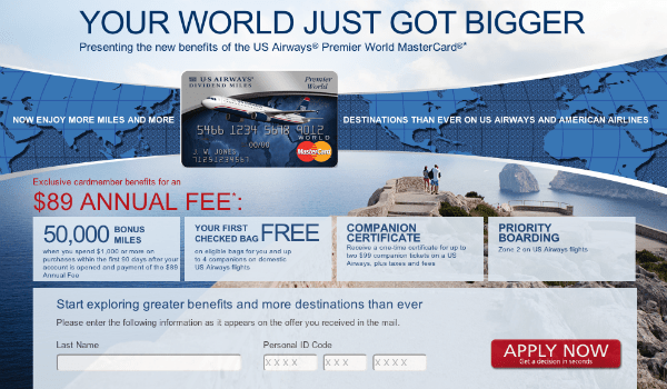 US Airways World Mastercard 50000 miles