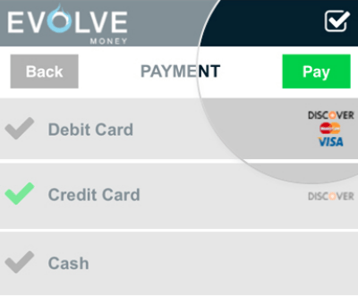 Evolve Money Accepts Credit Cards