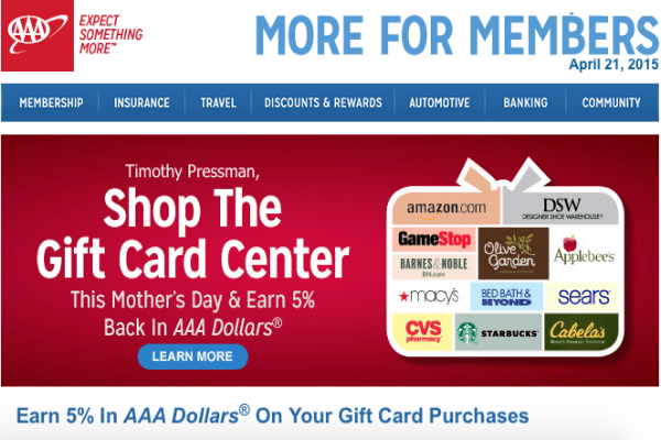 5 percent AAA dollars on gift cards