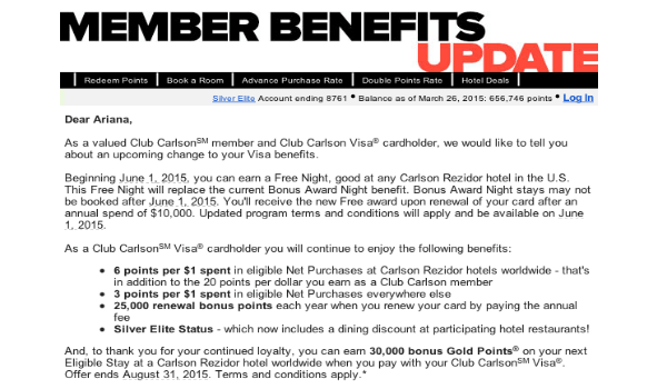 Club Carlson Visa Credit Card