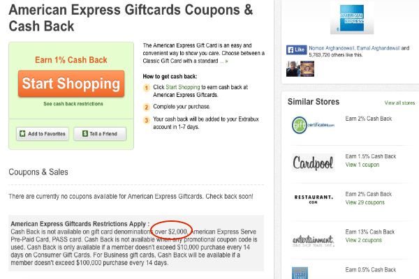 Earn 1% cash back on Amex gift cards purchased through Extrabux