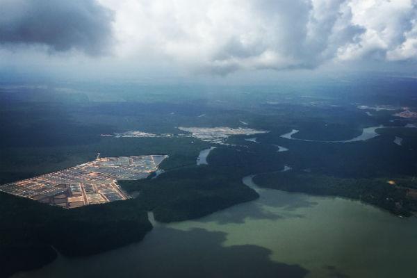 A (filtered) aerial shot of Singapore taken during landing