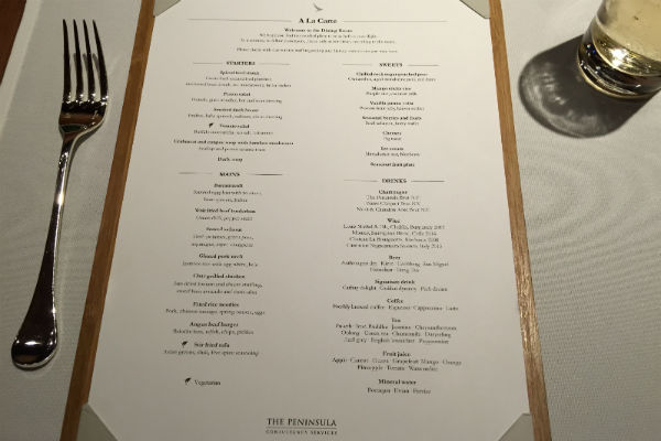 The restaurant menu at Cathay Pacific The Pier First Class Lounge