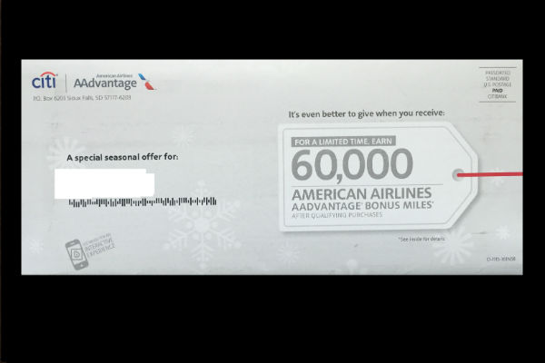 60,000 miles from the Citi Platinum AAdvantage Card