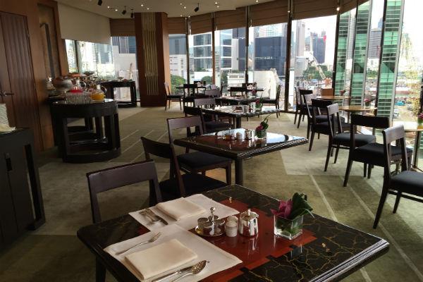 The temporary Grand Club Lounge at the Grand Hyatt Hong Kong