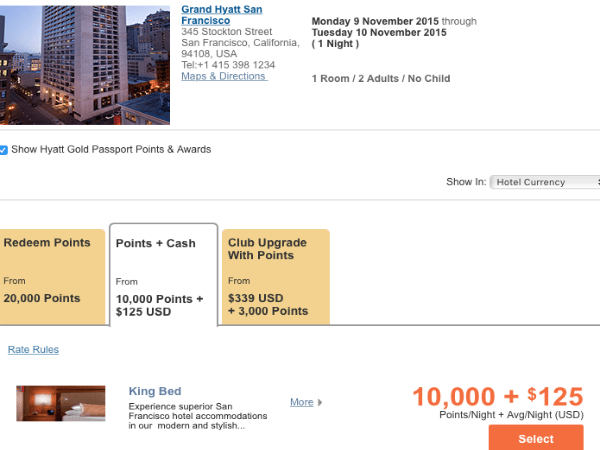 Hyatt Points + Cash booking online