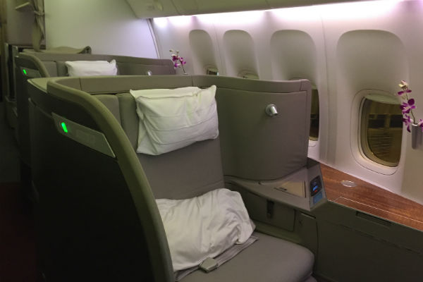 Cathay Pacific First Class Seat Onboard flight 872 HKG to SFO Onboard 777-300ER