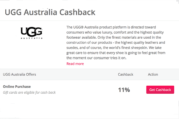 TopCashback is offering 11% cash back on UGG purchases - including UGG gift cards!