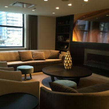 Seating area at the Hyatt Centric Chicago's Corner Lounge