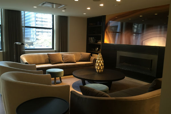 The main seating area at the Hyatt Centric Chicago's Corner Lounge