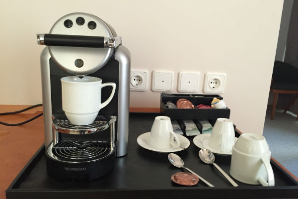 Nespresso Machine in the Junior Suite at Hilton Munich Airport Hotel