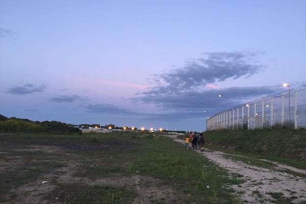 Calais Jungle Refugee Camp at Sunset