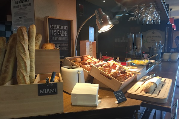 Bread and other breakfast buffet items at Ibis Hotel Calais