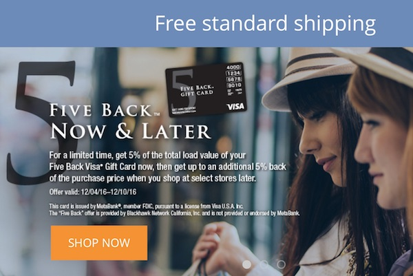 5 Percent Back Visa Deal on GiftCardMall