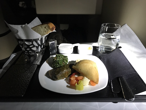 Etihad Airways Business Class Arabic Mezze Appetizer onboard flight 182 from San Francisco to Abu Dhabi
