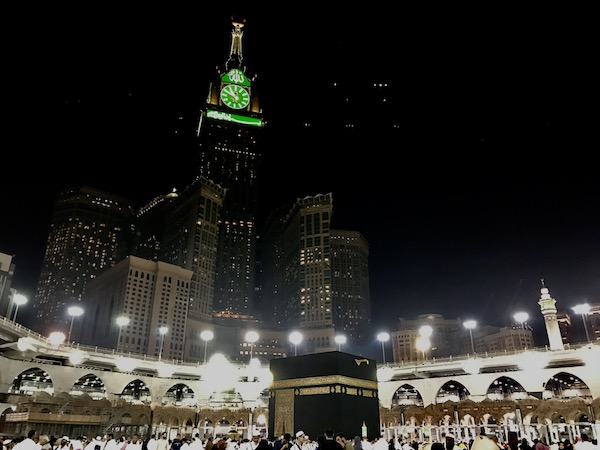 Kaaba Masjid al-Haram and Clock Tower in Mecca