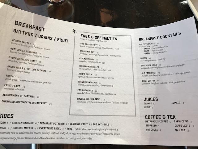 Review Conrad Chicago Baptiste & Bottle Breakfast Menu
