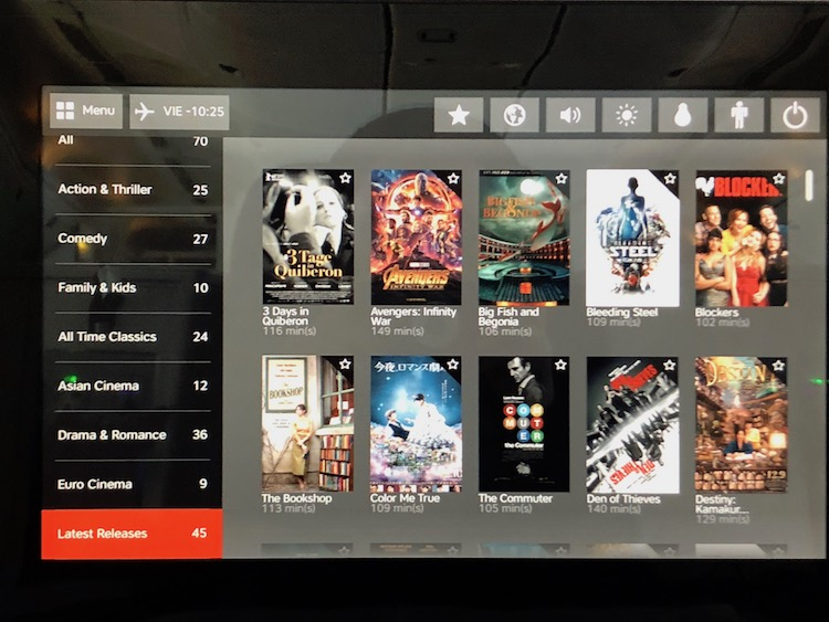 Austrian Airlines Business Class in-flight entertainment Review