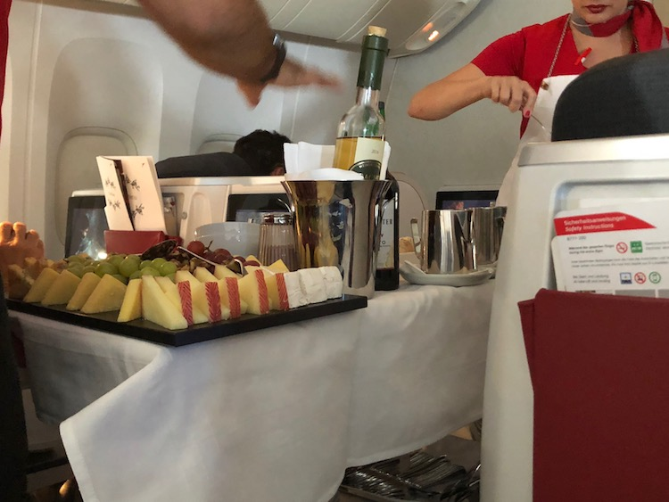 Austrian Airlines Business Class wine and cheese cart