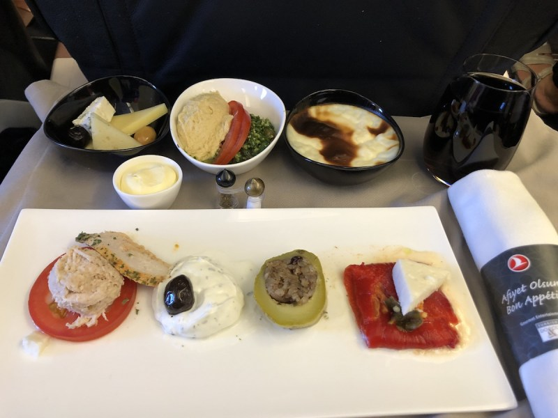 Turkish Airlines Business Class Review mezze and hummus