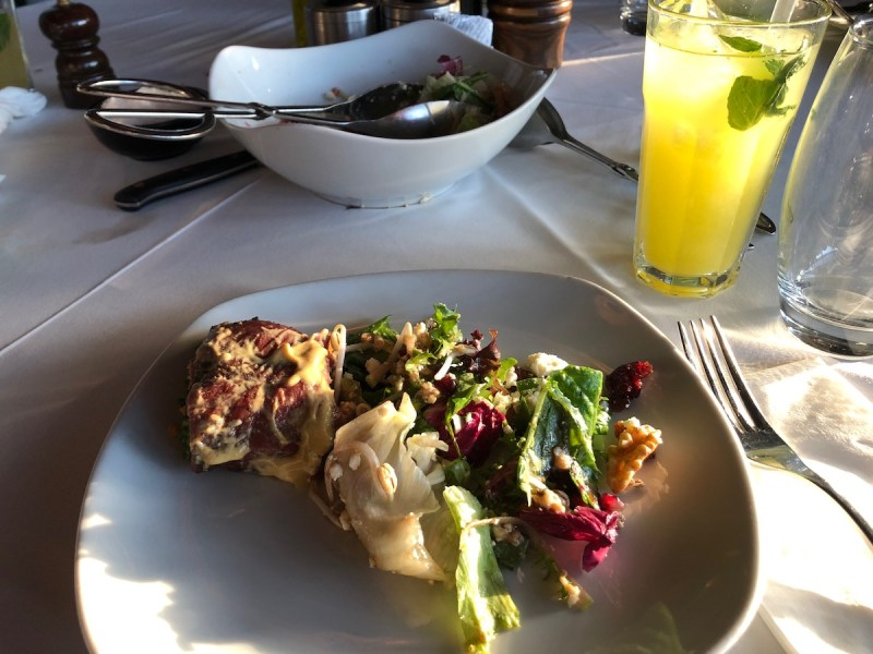 Lemonade and salad at Nusret Steakhouse Istanbul