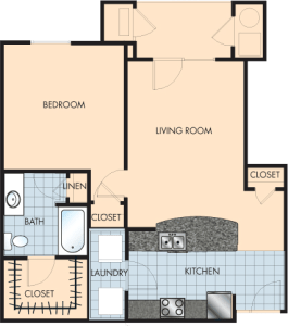1 Bed / 1 Bath / 868 sq ft / Rent: $1,340