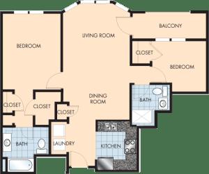 2 Bed / 2 Bath / 1,055 sq ft / Rent: $1,610