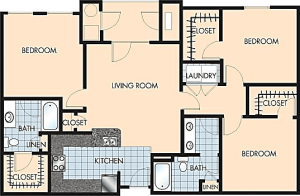 3 Bed / 2 Bath / 1,370 sq ft / Rent: $1,945