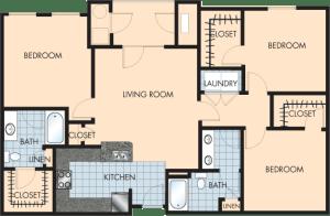 3 Bed / 2 Bath / 1,396 sq ft / Rent: $1,945