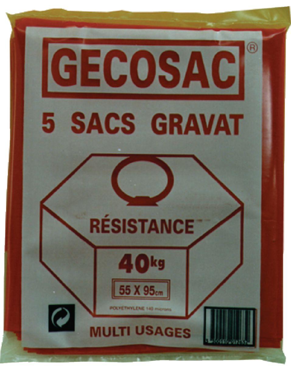 Gecosac Sac A Gravats Etanche Polypropylene Rouge 55x95 Cm Paquet De 5 Pcs Point P