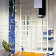 paroi salle de bain brique verre kit