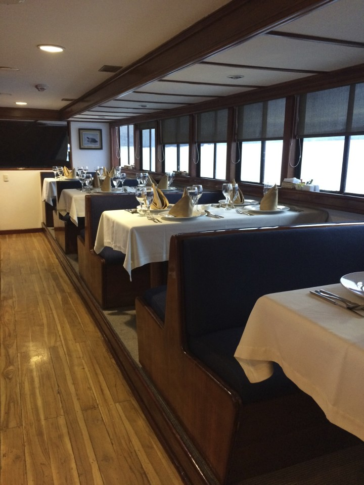 Dinning room of the Ecoventura yacht