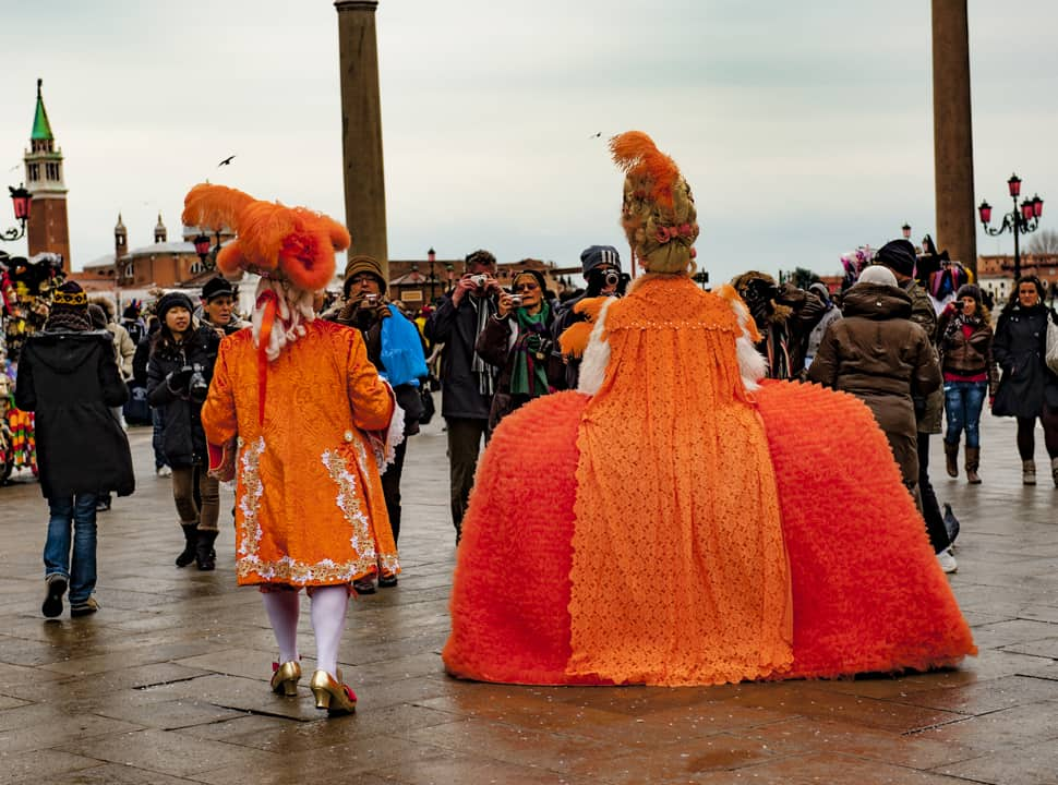 People watching during the Venice Carnival