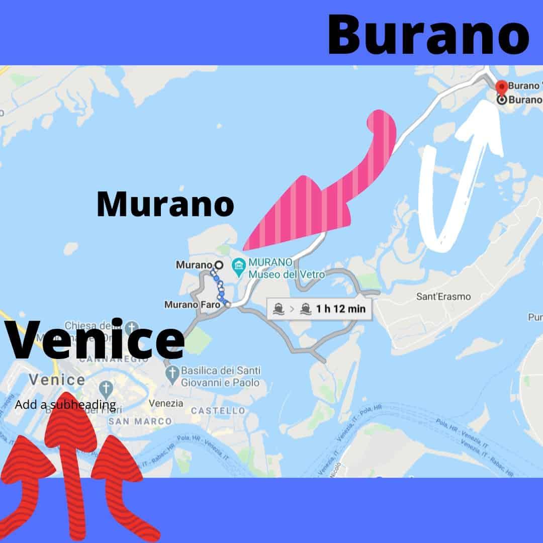 Map Venice to Burano Italy