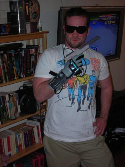 KC in a Star Trek t-shirt with an NES laser gun