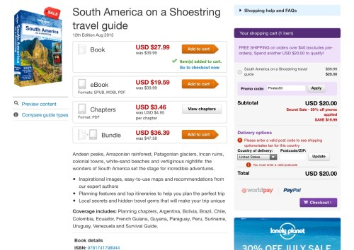 lonely planet travel book sale 50% off promo code ebook guide