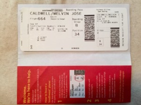 Southwest Airlines boarding pass