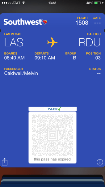 Southwest Airlines Mobile Boarding Pass